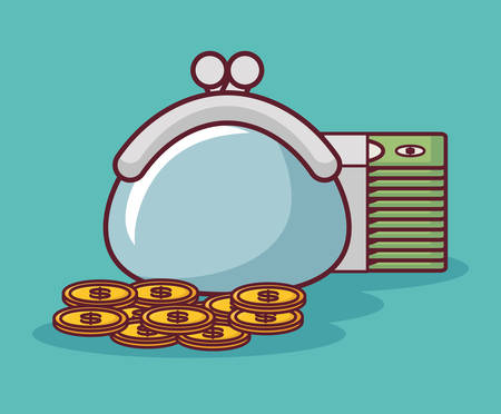 Wad of bills with Purse and coins over blue background, colorful design vector illustration Illustration