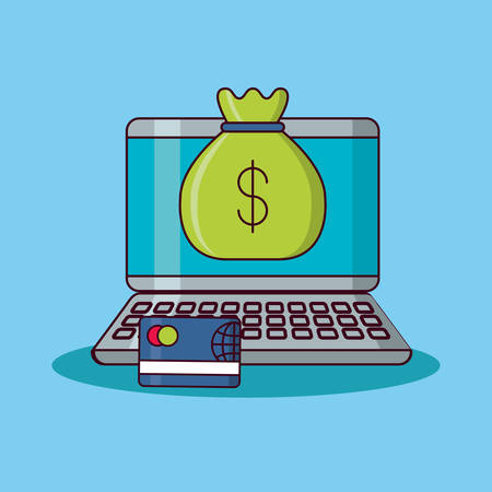 Laptop computer with money sack and credit card over blue background, colorful design vector illustration