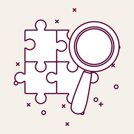 Magnifying glass and puzzles pieces over white background, vector illustration 矢量图像