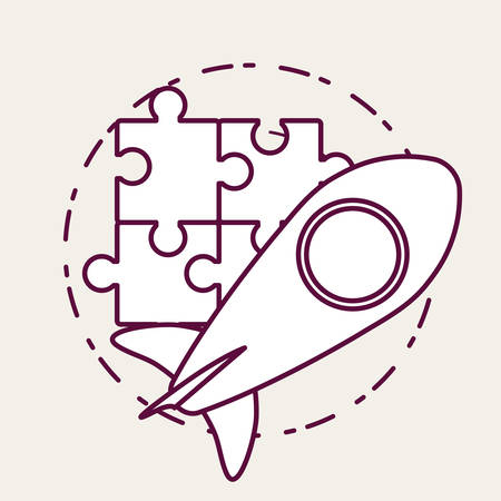Puzzle pieces and rocket over white background, vector illustration