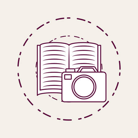 Photographic camera and book over white background, vector illustration