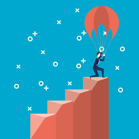 Businessman on the climb of the stairs with parachutes over blue background, colorful design vector illustration