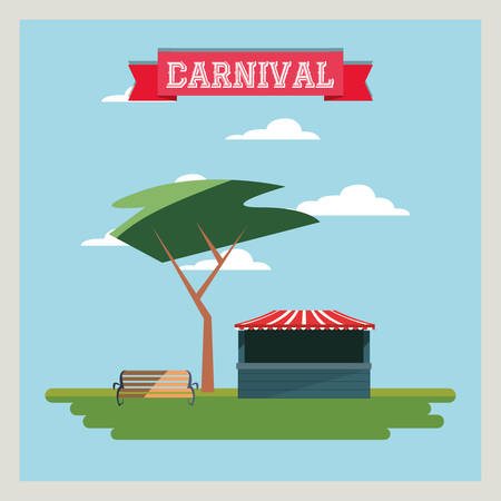 Circus carnival design with ticket store and tree on blue background
