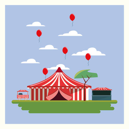 Circus carnival design with tent and red balloons in the air on blue background Illustration