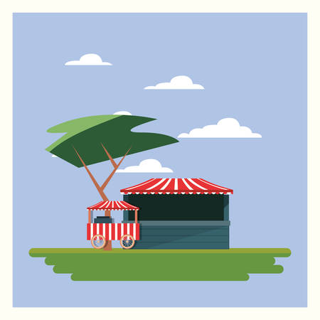 Circus carnival design with tickets store and food cart on blue background