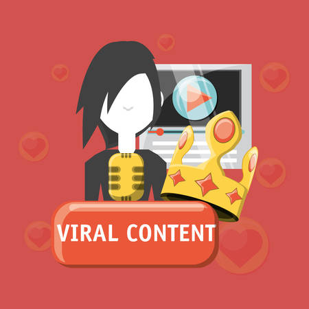 Viral content design with avatar man and related icons around over red background, colorful design. vector illustration