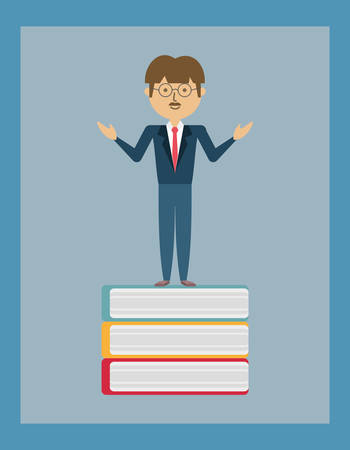 Cartoon man standing on a book illustration