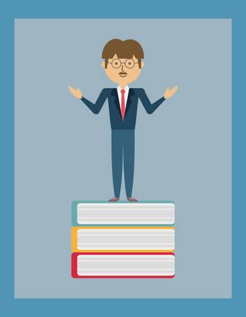 Cartoon man standing on a book illustration