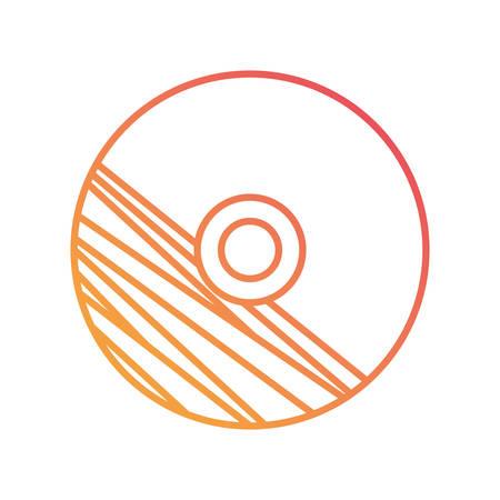 flat line orange CD with stripes design over white background vector illustration