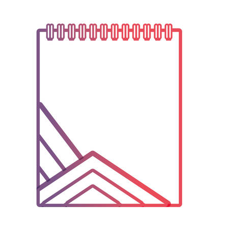 flat line purple notepad with blue lines design over white background vector illustration