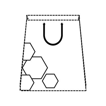 Dotted shopping bag with hexagons design Illustration