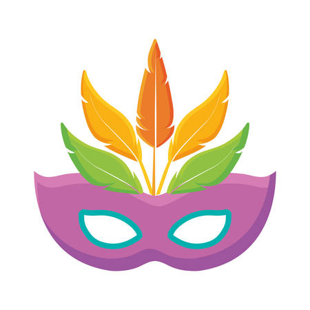 pink carnival mask with feathers over white background vector illustration Illustration