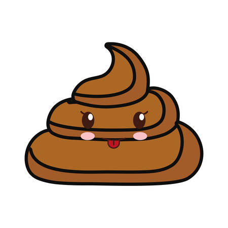 kawaii poop over white background vector illustration Illustration