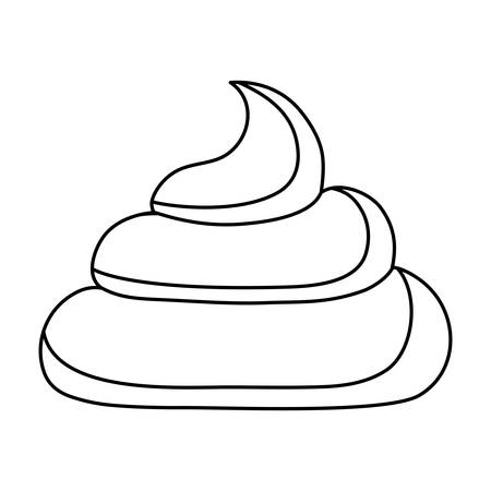 uncolored poop over white background vector illustration