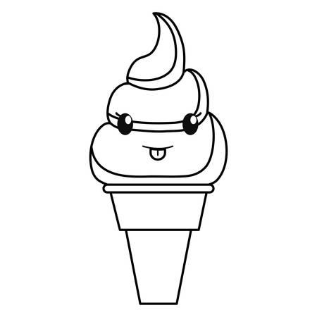 uncolored kawaii ice cream cone over white background vector illustration