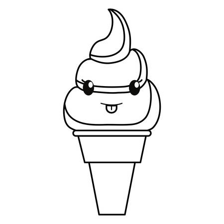 uncolored kawaii ice cream cone over white background vector illustration