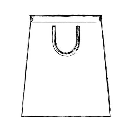 uncolored shopping bag doodle over white background vector illustration Illustration