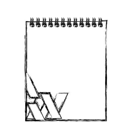 uncolored notepad with stripes design doodle over white background vector illustration
