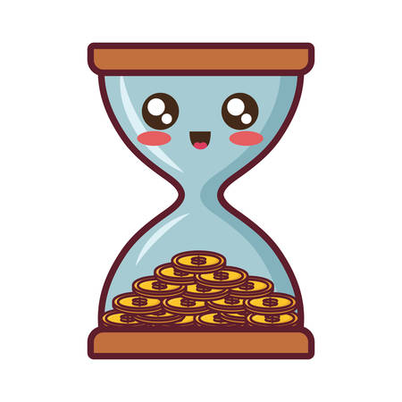 Cute hourglass with coins icon over white background vector illustration