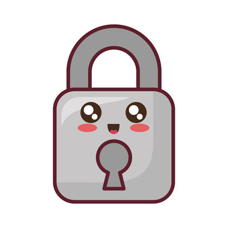 Cute security padlock icon over white background colorful design vector illustration