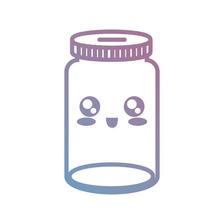 Kawaii empty jar icon over white background colorful design vector illustration.