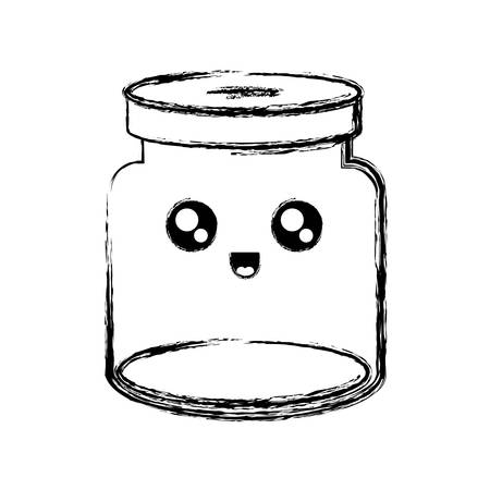empty jar icon over white background vector illustration  イラスト・ベクター素材