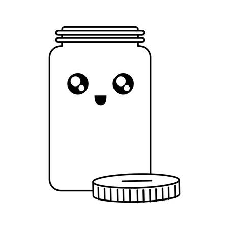 Flat line uncolored kawaii jar coin bank with lid in side vector illustration