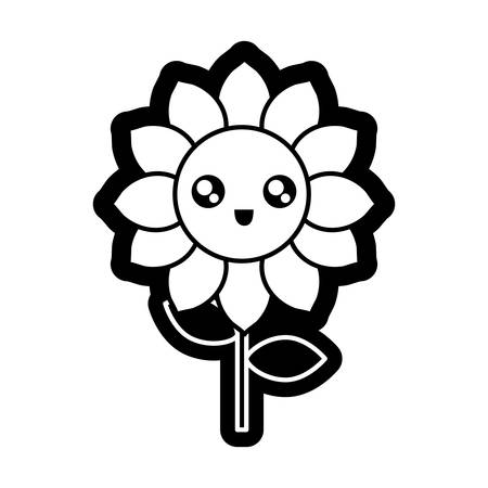 Sunflower image outline illustration