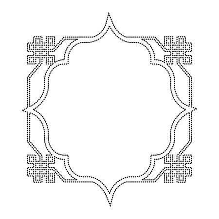 Arabic style frame icon over white background illustration