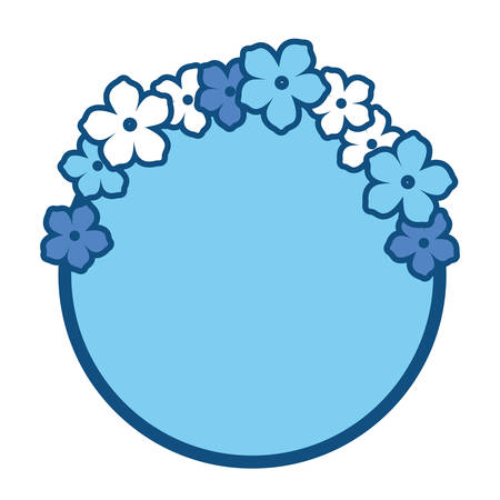 circular frame with decorative tropical flowers over white background blue shading design vector illustration