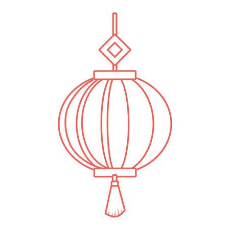 Chinese decorative lantern icon over white background colorful design vector illustration