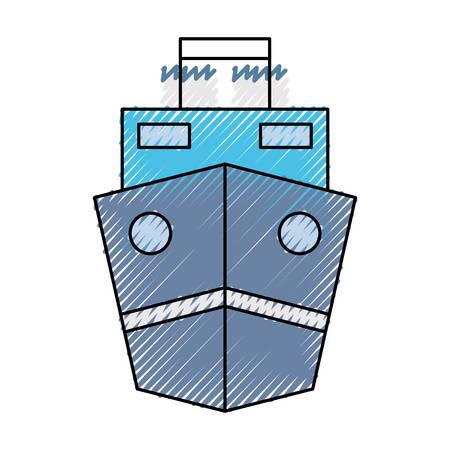 Cargo ship icon over white background colorful design vector illustration Illustration