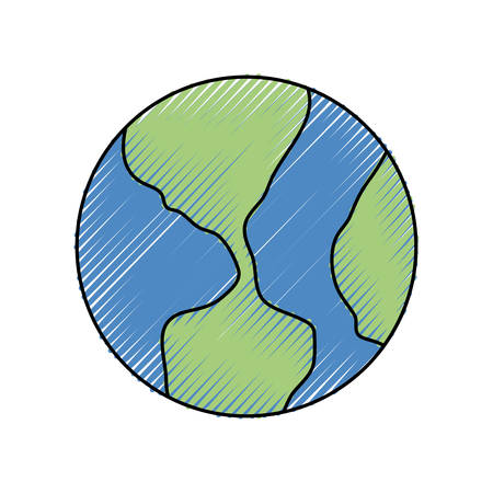 earth planet icon over white background colorful design vector illustration