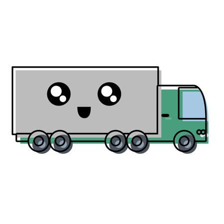 cargo truck icon over white background colorful design vector illustration