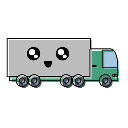 cargo truck icon over white background colorful design vector illustration