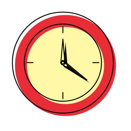 clock icon over white background colorful design vector illustration