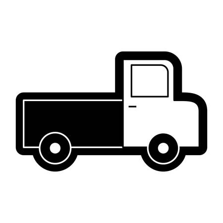 flat line monochromatic van over white  background  vector illustration