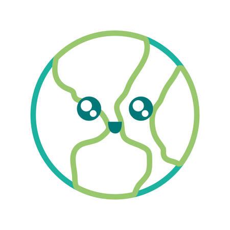 Tierra planeta icono sobre fondo blanco ilustración vectorial de diseño colorido Foto de archivo - 97004062