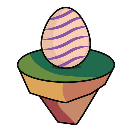 peach  easter egg with  violets curved lines  on piece land  design vector illustration