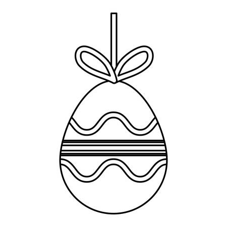 uncolored easter egg pendant with lines and curved lines design vector illustration Illustration