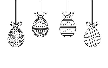 uncolored easter egg pendant design vector illustration