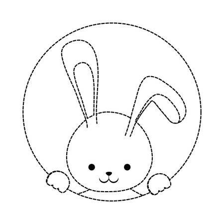 uncolored  easter rabbit  sticker  over white background  vector illustration Illustration