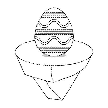 uncolored easter egg with lines   and curved lines sticker  on piece land  sticker  vector illustration