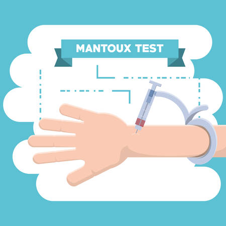 Mantoux test design with hand and injection over blue and white background, colorful design vector illustration