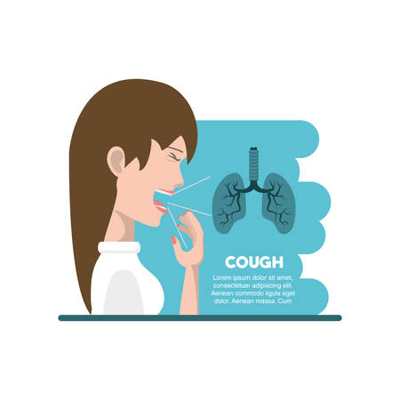 Tuberculosis infographic design with avatar woman coughing and lungs over white background, colorful design vector illustration