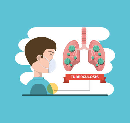 Tuberculosis design with lungs and man with surgical mask over blue and white background, colroful design vector illustration