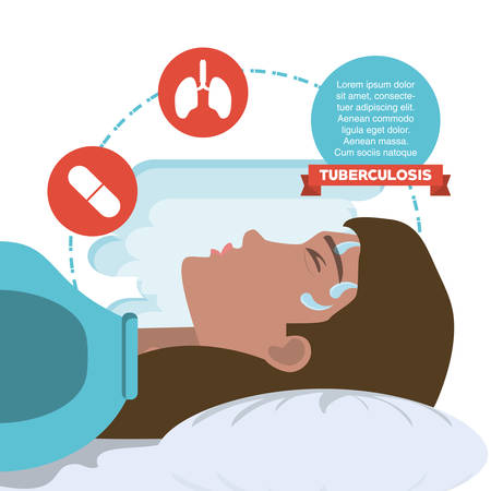 Tuberculosis infographic design with avatar woman sweating over white background, colorful design vector illustration