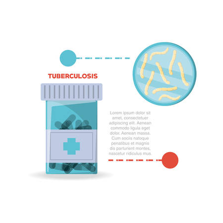 infographic of tuberculosis with pills bottle and bacterias over white background, colorful design vector illustration Illustration