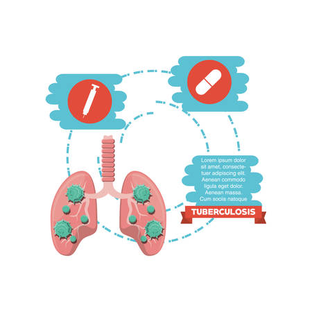 Infographic with medication and lungs with tuberculosis virus over white background, colorful design vector illustration