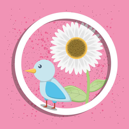 Circular frame with beautiful flower and cute bird icon vector illustration